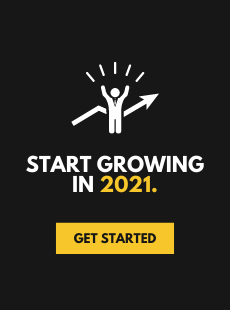 """A black call to action popup that says """"Start Growing in 2021""""."""