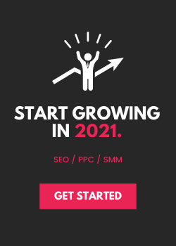 "A call to action (CTA), with a small cartoon figure with its hands up in the air and a red ""get started"" button."