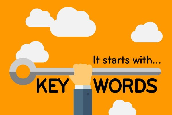 An infographic of a man holding a key surrounded by clouds to emphasise the importance of keywords.