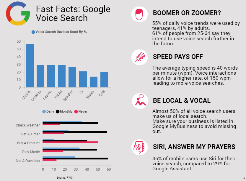 An infographic on Google Voice Search statistics.