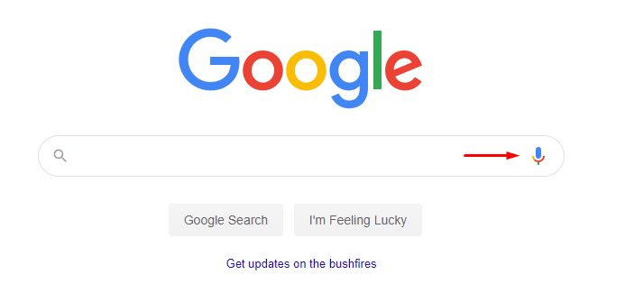 An image of a Google search bar that details how to do a voice search.