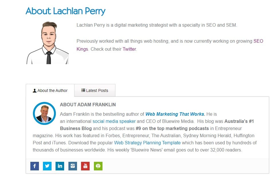 This is the author bio about Lachlan Perry on Bluewire Media as well as showing information about Adam Franklin who owns the site.
