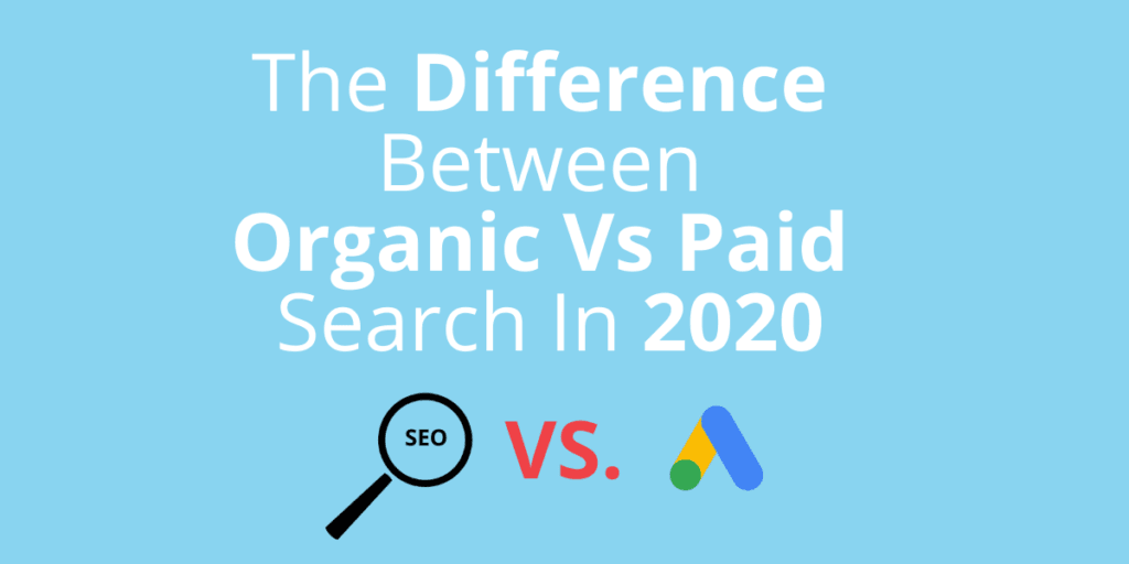 An image that contains the title of the blog post, as well as an SEO icon VS a Google AdWords icon.