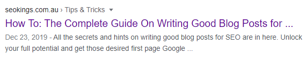 A Google meta description used for one of our blog post articles.
