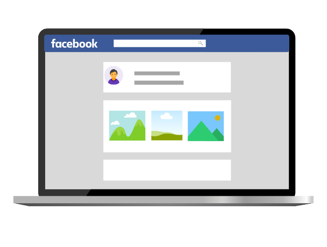 A cartoon mockup of a Facebook home page on a laptop.