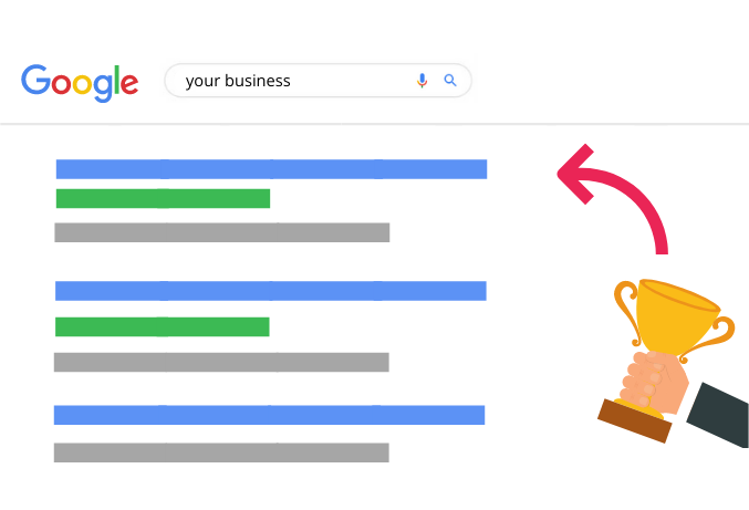 A cartoon picture of Google search results, and a golden trophy pointing to the top of the Google results.