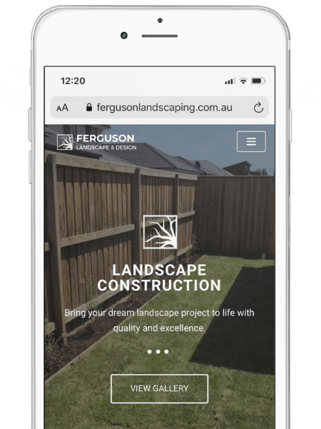 A white iPhone with a landscape construction page on the front.