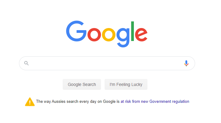 An open letter image that Google wrote to Australians warning them of potential Google Search issues.