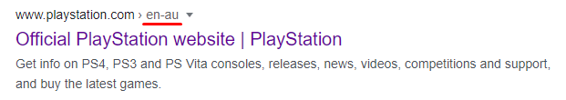 A Google snippet of the Playstation Australia hreflang page.