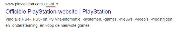 A Google snippet of the Playstation Dutch hreflang page.