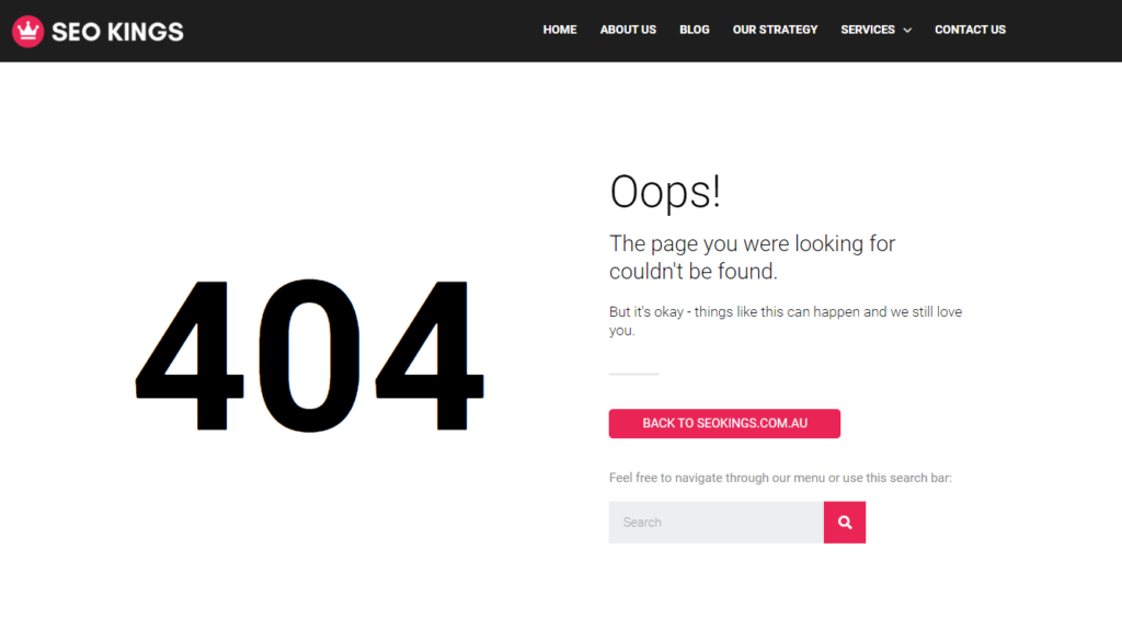 An example 404 page from seokings.com.au