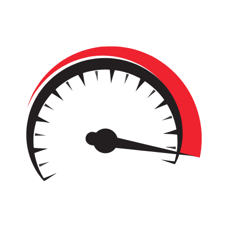 A red and black speedometer.