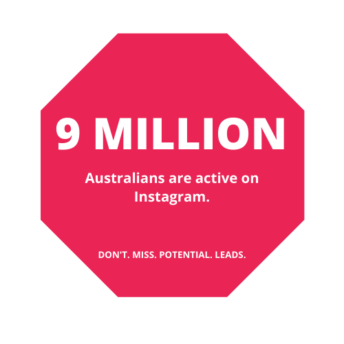 A red shape that details an instagram stat of how many users in Australia use Instagram per month.