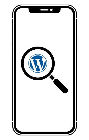 A black iPhone with a WordPress icon being magnified by a magnifying glass.