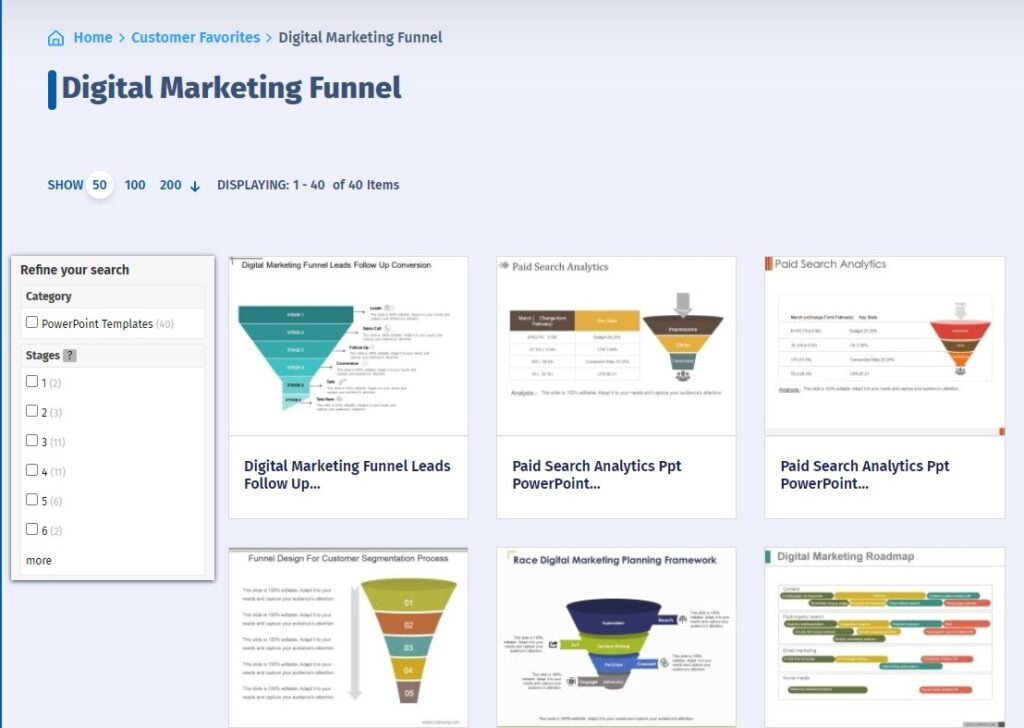A screenshot of SlideGeeks and the digital marketing funnels they offer.