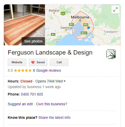 A photo of a Google My Business listing, being Ferguson Landscape & Design.