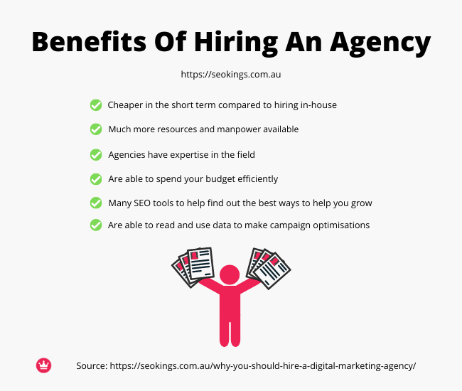 An infographic of the benefits on why you should hire a digital marketing agency.