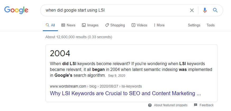 "A featured snippet from Google about ""when Google started using LSI"""