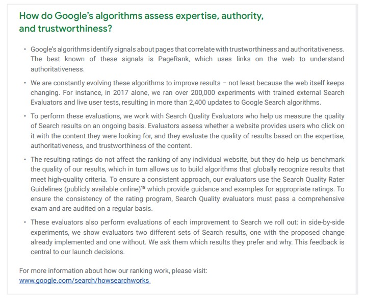 """An excerpt from Google's """"how search works"""" on how they assess expertise, authority and trustworthiness (E-A-T)."""