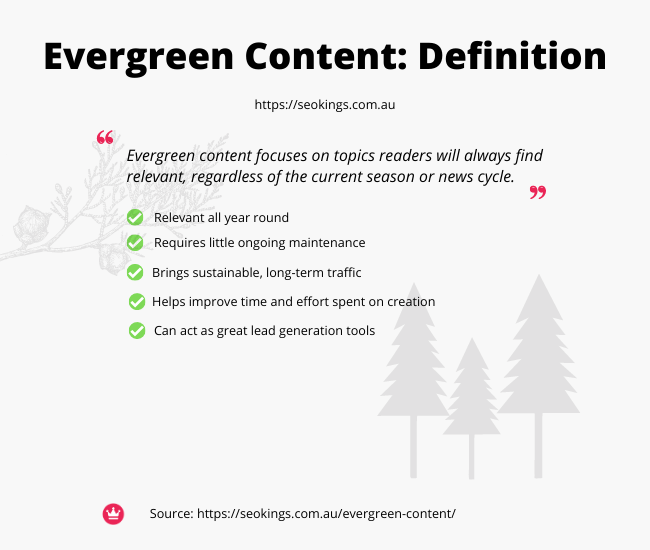 An image of evergreen content, a quote of what it is and the pro's of it.