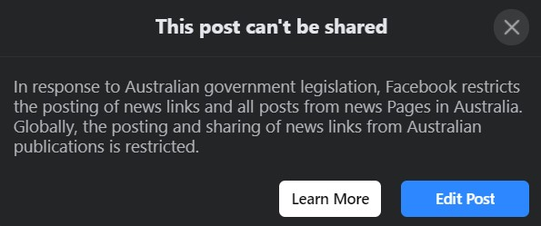 A screenshot of a post that can't be shared given the fact Facebook is restricting news in Australia.