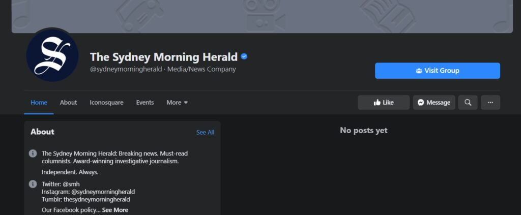 A screenshot of the Sydney Morning Herald's page, that isn't showing any posts due to the Facebook Australian news ban.
