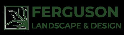 A transparent logo of Ferguson Landscape & Design.