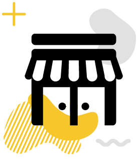 A small business icon on a yellow gradient.
