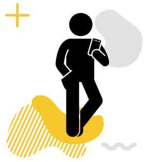 A stick figure holding a phone on a yellow gradient.