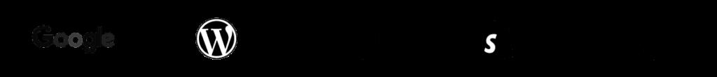 A banner of digital marketing platforms in black.