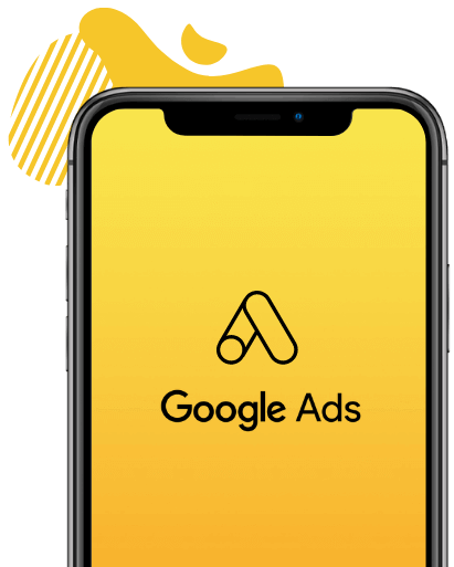 An iPhone mockup with the Google Ads logo on the front.