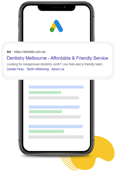 An iPhone with a Google Ads search results mockup on the screen.