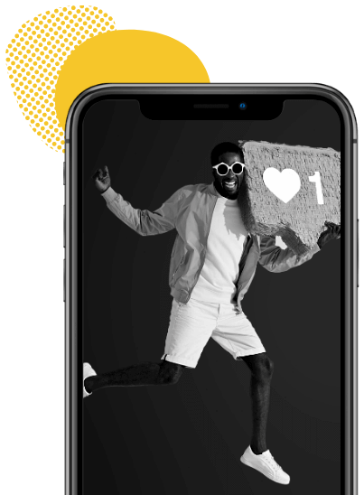 A black male on an iPhone screen holding a love heart.