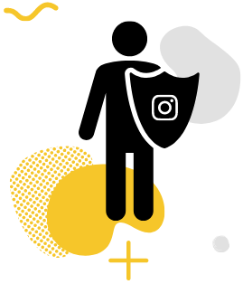 A cartoon man holding a shield with the Instagram logo on it.