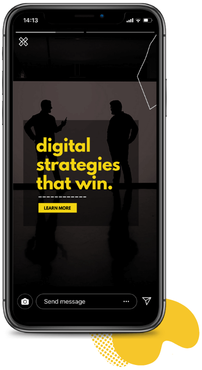 A mockup Instagram ad story on a black iPhone.