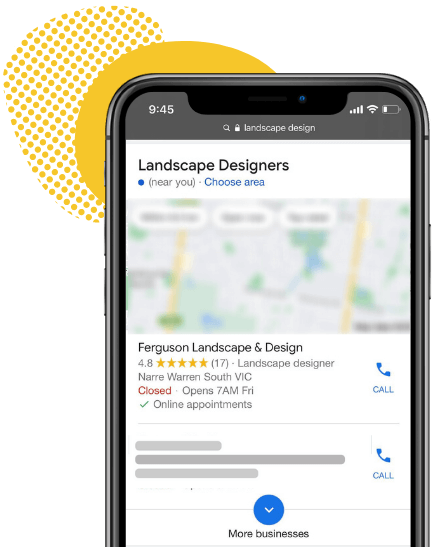 A local SEO pack of landscape designers on an iPhone.