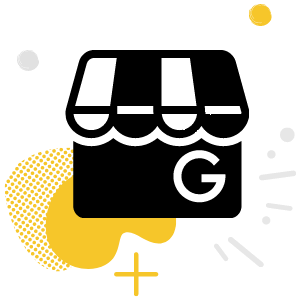 A Google My Business logo on a yellow gradient.