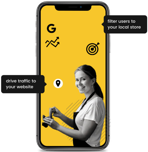 A young woman smiling on a yellow iPhone with two CTA's.