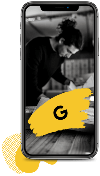 An iPhone with a black Google logo and a man working on the screen.