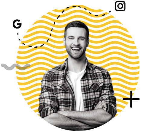 A smiling man on a yellow circle, with Google and Instagram logos.