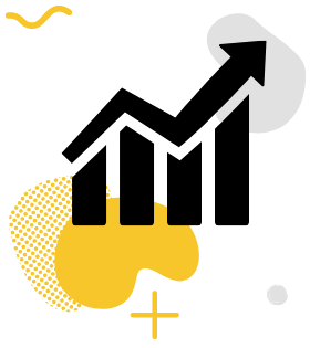 A black graph icon on a yellow gradient.