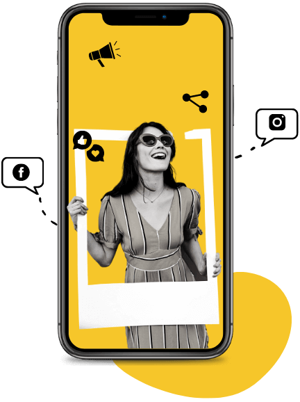 A smiling woman with a white frame and social icons around her, on an iPhone.