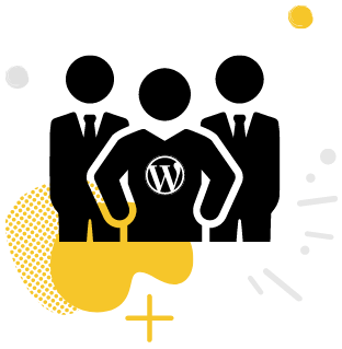 Three stick figures, one with a WordPress icon on their chest.