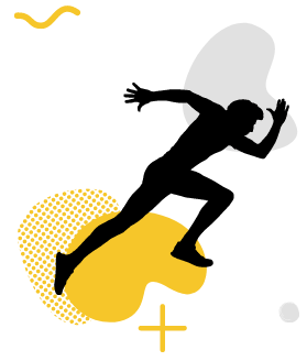 A running cartoon figure on a yellow gradient.