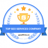 A GoodFirms top SEO Services company badge in blue.